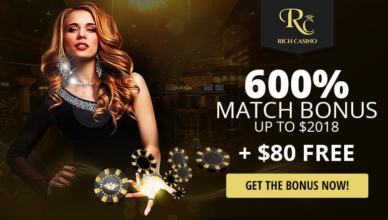 慶祝2018   Rich Casino送出$80免費資金及600%的專屬於禮金